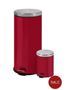 swan-retro-30-litre-and-5-litre-bin-set-red