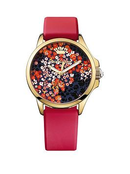 juicy-couture-floral-print-dial-red-silicone-strap-ladies-watch