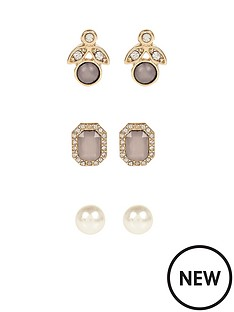 river-island-river-island-pearl-3pk-stud-earrings