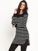 Stripe Curve Hem Tunic