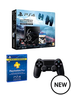 playstation-4-ps4-1tbnbsplimited-edition-black-console-with-star-wars-battlefront-365-psnnbspcard-and-extra-dualshocknbsp4-controllernbsp