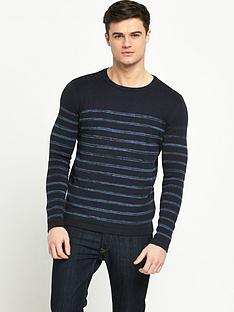 selected-selected-striped-crew-neck-knit