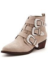 Vine Triple Buckle Western Detail Ankle Boots
