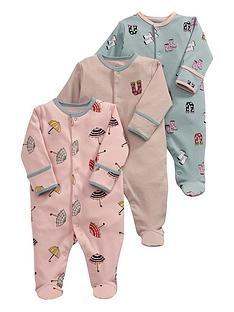 mamas-papas-baby-girls-rainy-days-sleepsuitsnbsp3-pack