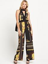 Printed Tie Neck Jumpsuit