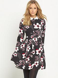 v-by-very-contrast-collar-printed-skater-dress