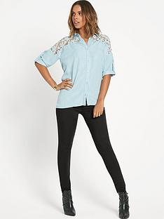 rochelle-humes-crochet-trim-chambray-shirt
