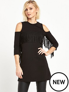river-island-cold-shoulder-fringed-t-shirt