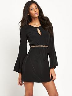 lipsy-belted-bell-sleeve-skater-dress