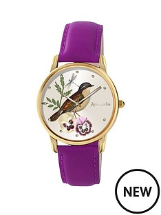 accessorize-accessorize-vintage-style-bird-design-dial-with-purple-strap-ladies-watch