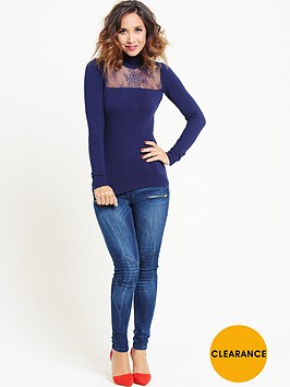 myleene-klass-lace-panel-polo-neck-jumper