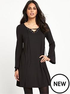 glamorous-glamorous-tie-front-black-dress