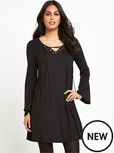 glamorous-tie-front-dress-black