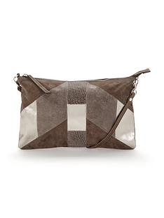 warehouse-suede-patchwork-crossbody-bag