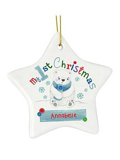 personalised-my-1st-christmas-polar-bear-ceramic-star-decoration