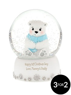 personalised-polar-bear-snow-globe