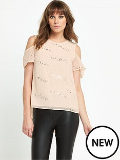 v-by-very-foil-print-cold-shoulder-top