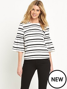 v-by-very-stripe-fluted-sleeve-top