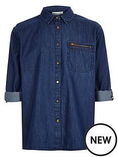 river-island-girls-denim-zip-detail-shirt