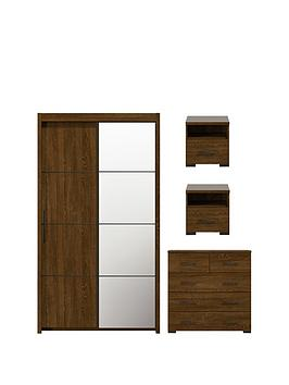Innova 4Piece Package  2Door Wardrobe 5Drawer Chest And 2 Bedside Cabinets