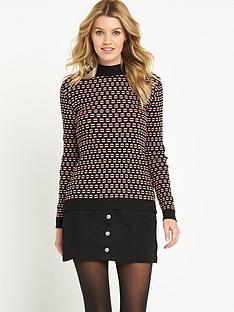 v-by-very-patterned-rib-skinny-high-neck-jumper