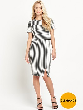 miss-selfridge-double-layer-striped-pencil-dress