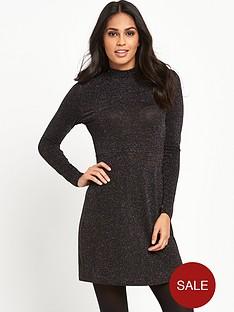 glamorous-high-neck-skater-dress