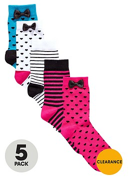 v-by-very-girls-spot-and-stripe-socks-with-bows-5-pack