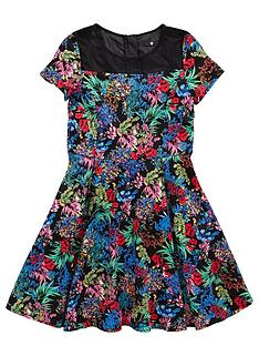 v-by-very-girls-cap-sleeve-mesh-panel-dress