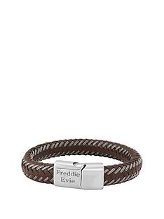 keepsafe-keepsafe-personalised-brown-leather-and-stainless-steel-mens-bracelet