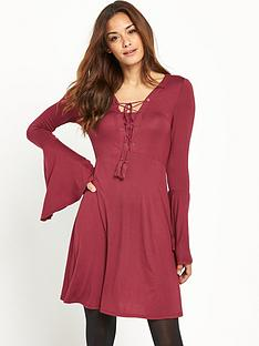 v-by-very-lace-up-front-boho-jersey-dress