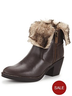 firetrap-shine-leather-faux-fur-trim-ankle-boot