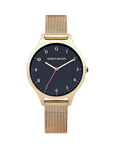 karen-millen-karen-millen-dark-blue-dial-gold-tone-stainless-steel-mesh-bracelet-ladies-watch