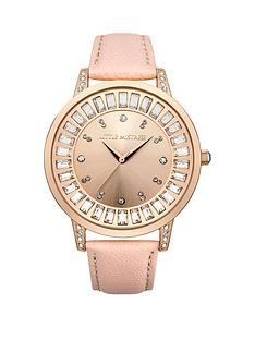 little-mistress-little-mistress-rose-gold-stone-set-sunray-dial-brown-glitter-pu-strap-ladies-watch