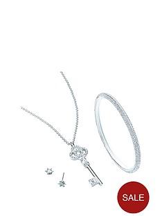 buckley-london-silver-plated-crystal-setnbspkey-pendant-earrings-ampnbspbangle-keepsake-set