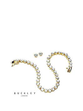 buckley-london-gold-plated-tennis-bracelet-amp-stud-earring-set-made-with-swarovski-crystals