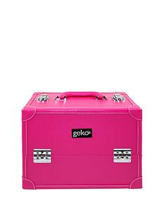 vanity-casemake-up-box-hot-pink-faux-leather