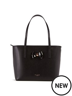 ted-baker-nbspsmall-bow-detail-leather-crosshatch-shopper