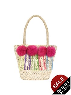 girls-pom-pomnbspstraw-beach-bag