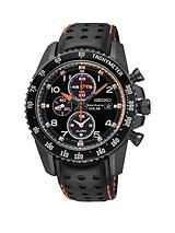 Sportura Chronograph Black Dial With Padded Leather Strap Mens Watch