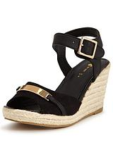 Goldsmith Gold Trim Espardrille Wedge Sandal