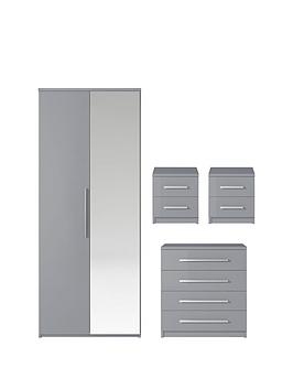 Very Prague Gloss 4-Piece Package - 2-Door Wardrobe, 4-Drawer Chest And 2  ... Picture