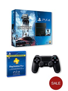 playstation-4-black-500gb-console-with-star-wars-battlefront-365-days-psn-and-dualshock-4-controller