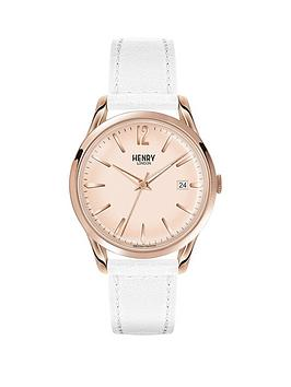 Henry London Henry London Pimlico Rose Gold Dial White Leather Strap Ladies Watch