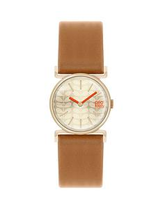 orla-kiely-orla-kiely-champage-gold-dial-tan-and-red-leather-strap-ladies-watch
