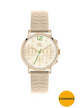 orla-kiely-champagne-dial-with-embossed-nude-leather-strap-ladies-watch