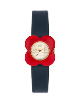 orla-kiely-orla-kiely-champagne-gold-flower-print-dial-with-red-flower-navy-and-nude-leather-strap-ladies-watch