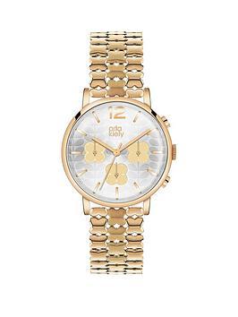 Orla Kiely Champagne Gold Printed Dial Hamilton Gold Flower Link Bracelet Ladies Watch