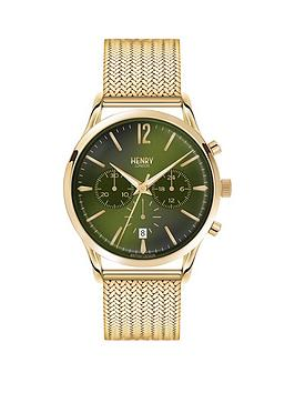 Henry London Henry London Chiswick Multifunction Rich Green Dial Pale Hamilton Gold Bracelet Mens Watch