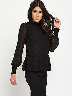 v-by-very-dobby-high-neck-blouse